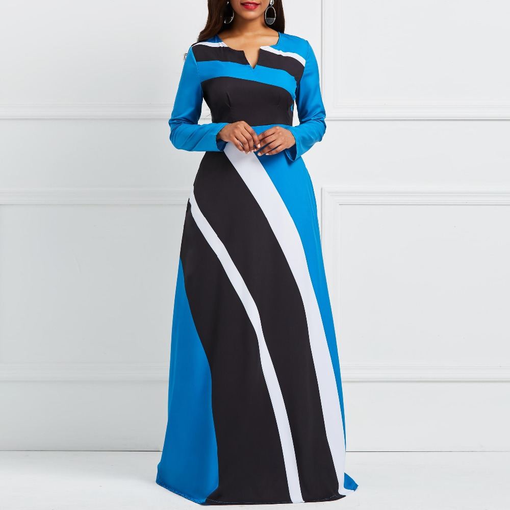 Women Elegant Dress 2018 Autumn A-Line V-Neck Zipper Stripe Color Block Ankle-Length Girl Fashion Office Lady African Long Dress