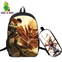 2 Pcs/set Women Backpack Cool Anime Attack on Titan Travel Bags Eren Levi Mikasa School Bags for Teenage Girls Boys Notebook