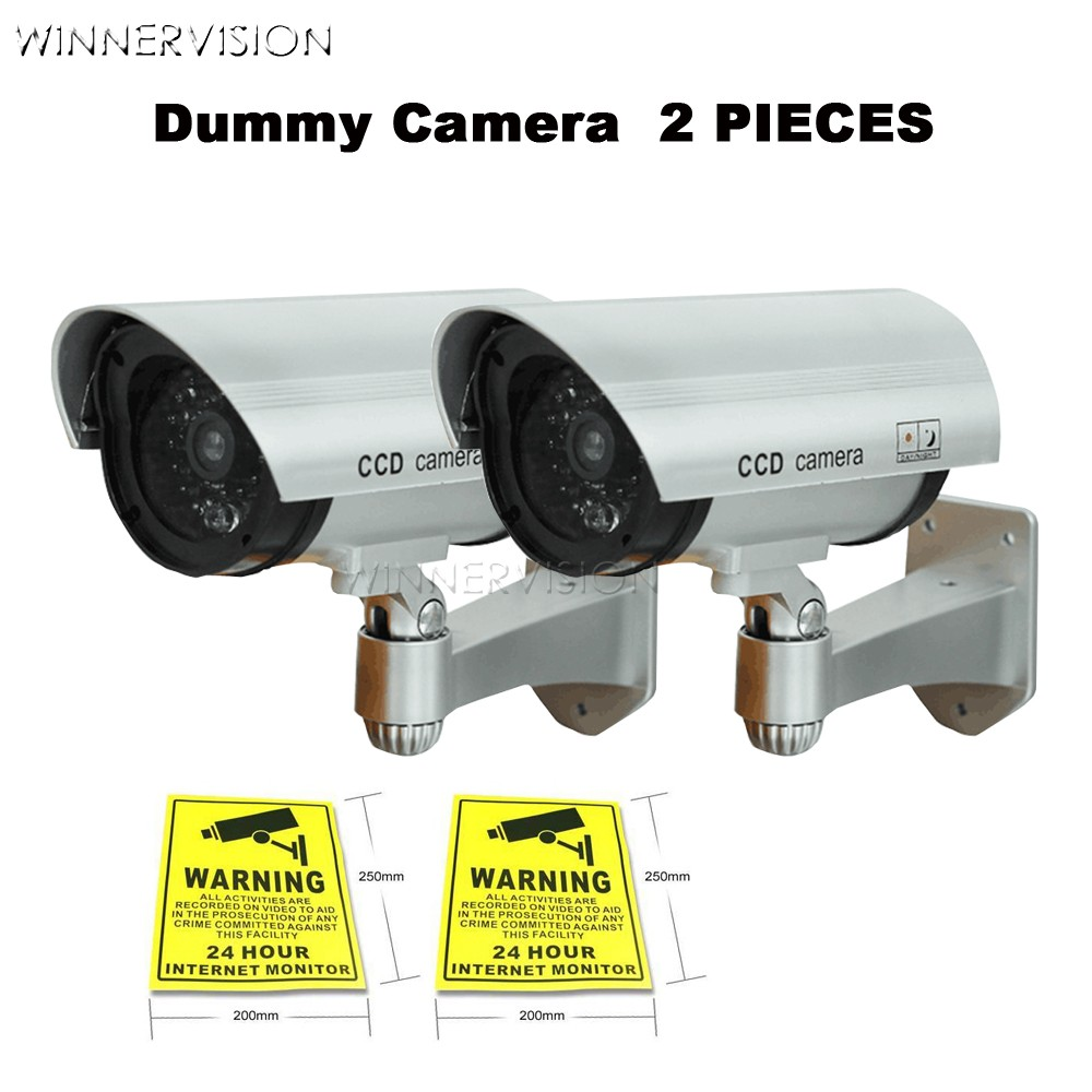 Fake Camera 2xAA Battery Powered Flicker Blink LED Indoor Outdoor Dummy Bullet CCTV Security Camera with CCTV Warning Label bullet camera tube camera headset holder with varied size in diameter