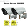 Fake Camera 2xAA Battery Powered Flicker Blink LED Indoor Outdoor Dummy Bullet CCTV Security Camera with CCTV Warning Label