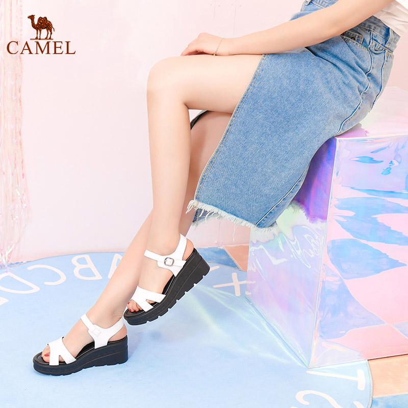 CAMEL  Fashion Woman Sandals Student Summer New Wedges Sandals Beach Sandals Casual Platform Shoes High-heeled Sandals For Woman