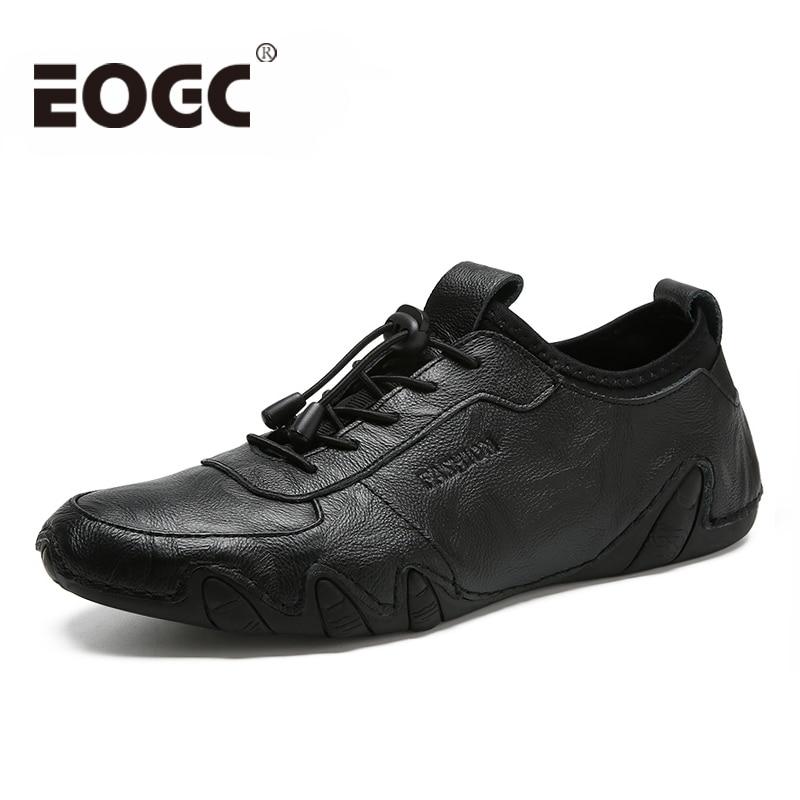 Натуральная кожа Мужская Повседневная обувь для мужчин 2018 Мода Четыре S мужские туфли на плоской подошве Удобные черные Мужская обувь для х...