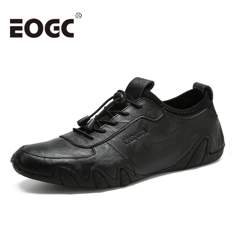 Véritable cuir hommes chaussures décontractées pour hommes 2018 mode quatre S hommes chaussures plates confortable noir marche hommes chaussures