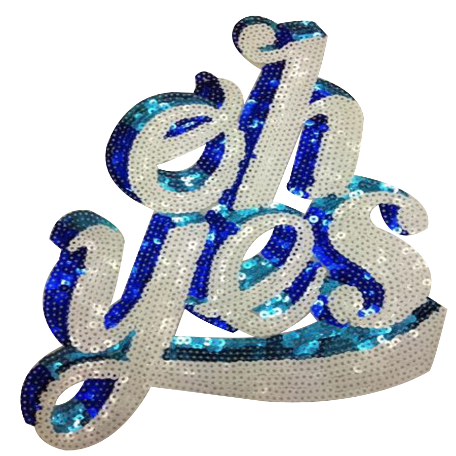 Fashion sequins Icon 28cm oh yes iron on patches for clothing embroidery biker patch diy applique clothes t shirt women stickers