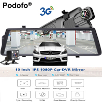 Podofo Car DVRs 10 Touch IPS Android 5 0 GPS Navigators FHD 1080P Wifi 3G Video