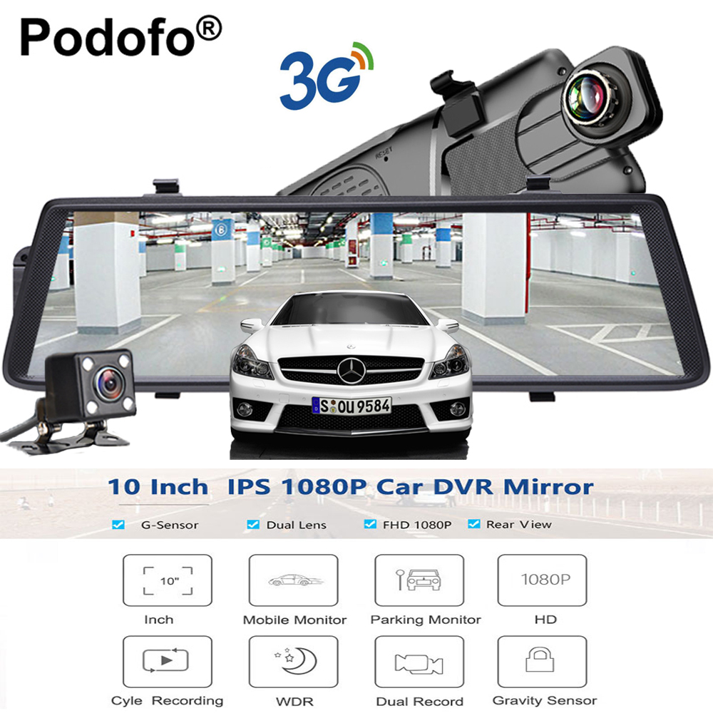 Podofo Car DVRs 10 Touch IPS Android 5.0 GPS Navigators FHD 1080P Wifi 3G Video Recorder Rearview Mirror dvr Dual Lens DashCam