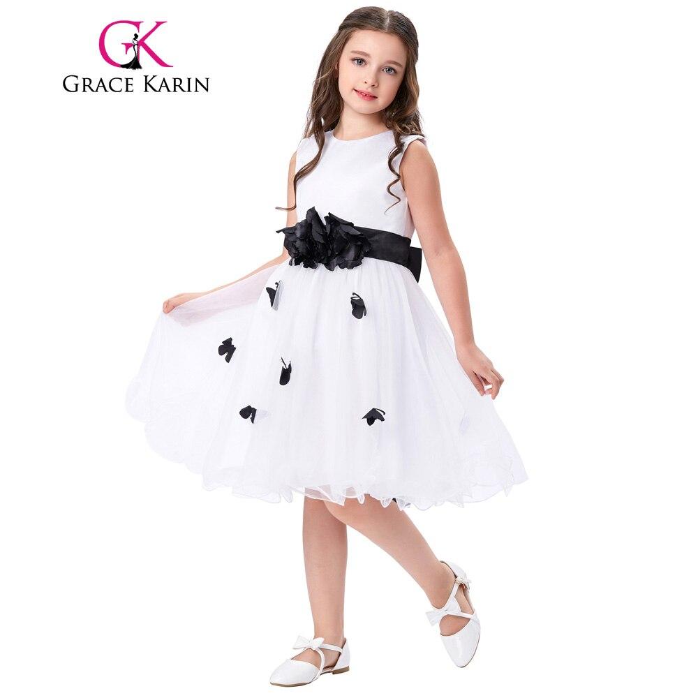 ③Gracia Karin niña de las flores del satén sin mangas de tul Niña ...