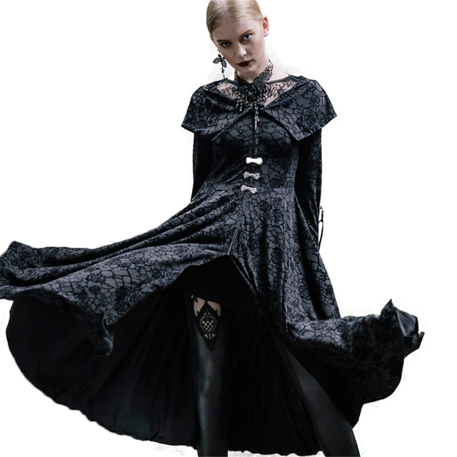 Punk Priestess Long Dress Roses Flocking Witch Dress Gothic Variable ...