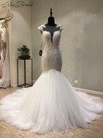 עיצוב חדש 2018 שמלות כלה O-צוואר שווי שרוול משפט רכבת אפליקציות טול בת ים חתונת שמלות vestidos דה novia