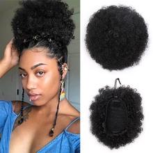 Doris piękno syntetyczne Puff Afro krótkie Kinky kręcone chignon włosy Bun sznurkiem kucyk Wrap hairpiece fałszywe przedłużanie włosów tanie tanio Clip-in Czysty kolor Włókno wysokotemperaturowe Kędzierzawy chignon
