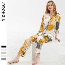 Elegante high end cetim impressão de tinta pijamas manga longa com decote em v loungewear mulher sleepwear primavera calças de duas peças roupas para casa