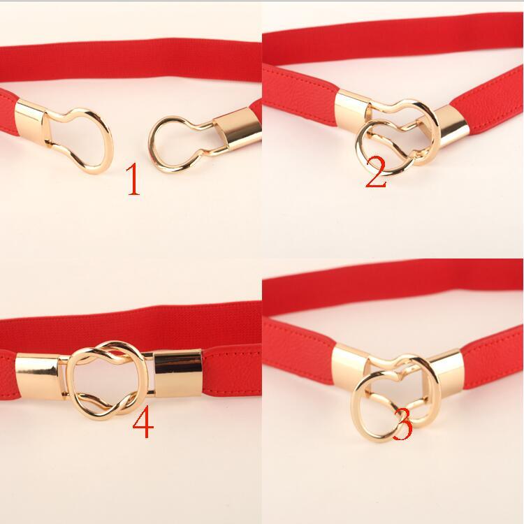 Free Shipping Fashion women's belt elastic waistband gold circle buckle small belts red thin cummerbund woman belt strap brown 5