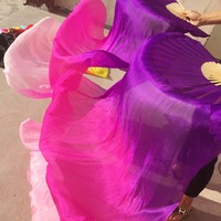 Cheap Belly Dance Fans For Ladies 100 Silk Veil Girl Women Red Yellow Blue Belly Exhibition