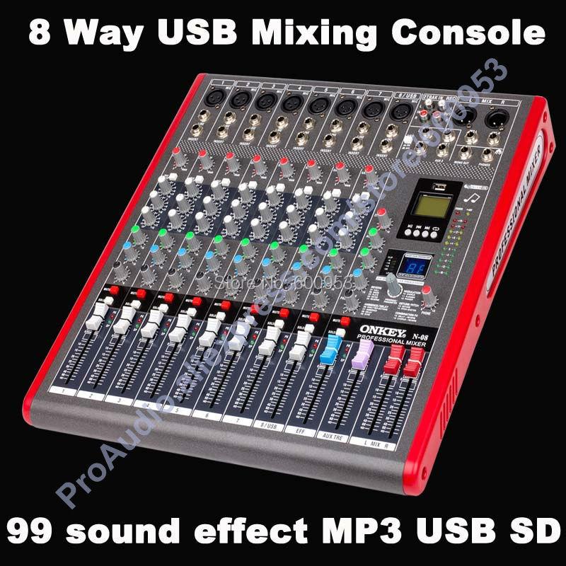 Pro 6 8 12 способ USB микшерный пульт 99 цифровой аудио эффект multi FX процессора Studio аудио микшеров смеситель MP3 SD для сцены встречи