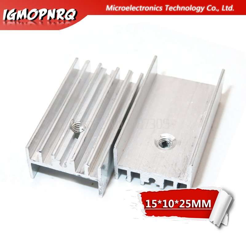 10pcs Aluminum Heatsink Radiator 15*10*25mm Transistor TO-220 Hjxrhgal For Transistors TO220 White
