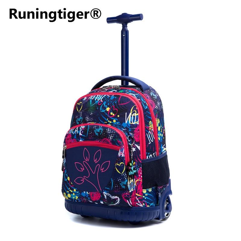 Runingtiger 18 inch kids School backpack On wheels Trolley backpacks bags Children School Rolling backpack the effect of backpack on posture in school children