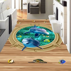 Frete grátis mundo marinho porthole tartarugas de coral piso 3d não-deslizamento à prova dnon água lobby banheiro piso mural
