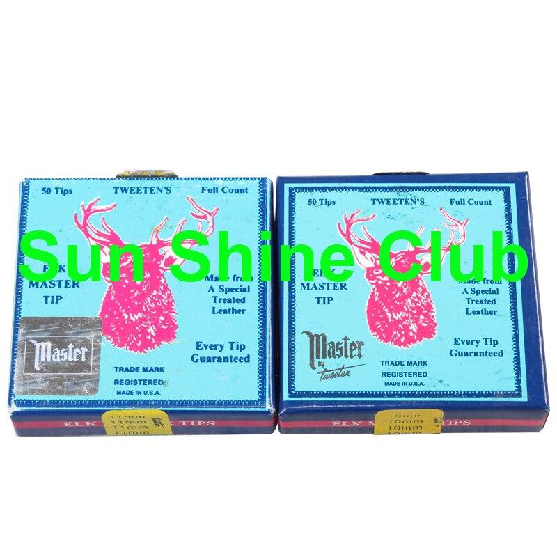 Free shipping 50pcs lot Original ELK Mater Snooker Cue Tips 10mm 11mm pigskin leather Blue Snooker