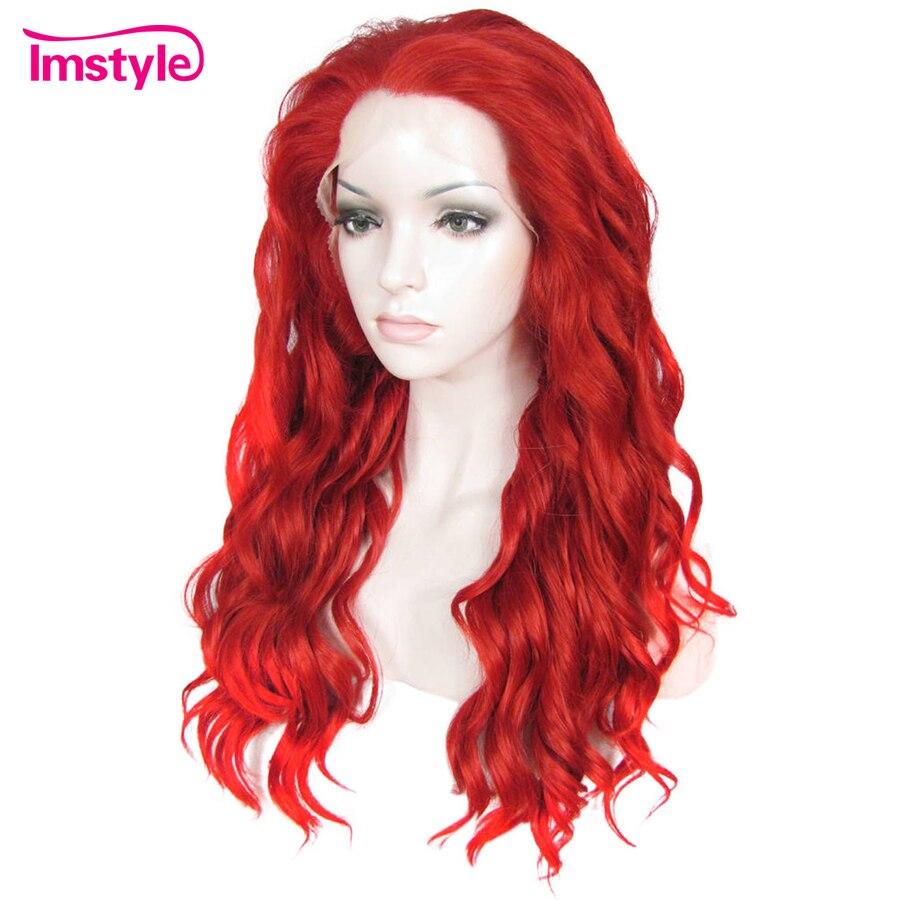 Imstyle Синтетические волосы на кружеве парики длинные волнистые красного цвета парики для Для женщин леди термостойкие волокна синтетически...
