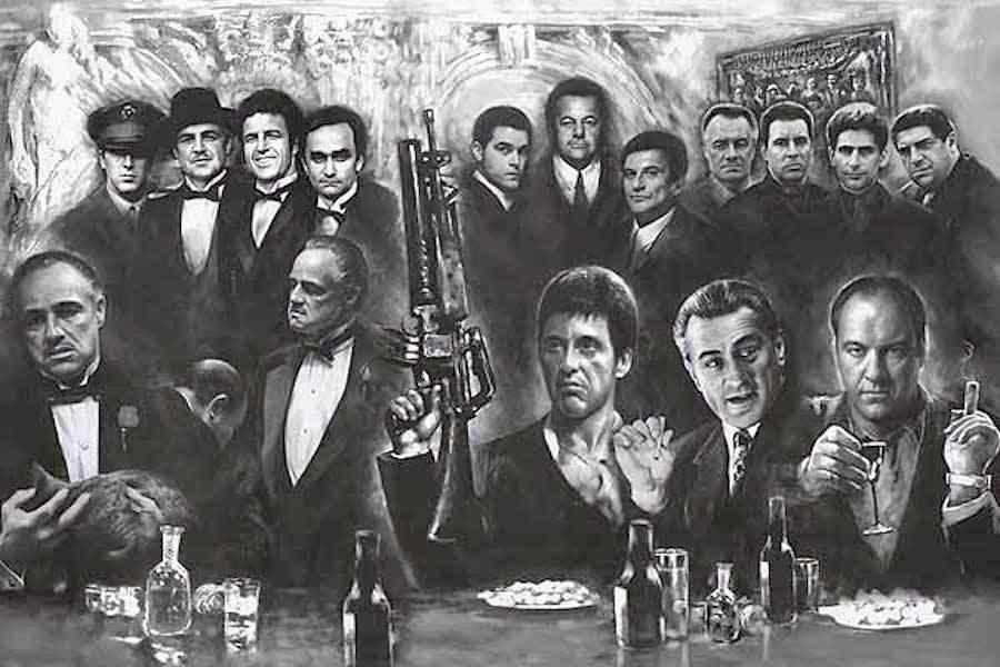GANGSTER COLLAGE - ART MAFIA TV MOVIE SILK POSTER Decorative Wall paint 24x36inch