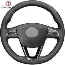 Lqtenleo черная замша DIY автомобиля рулевое колесо Крышка для Seat Leon 5F Mk3 2013- Ibiza 6J Tarraco Арона Ateca Альгамбра