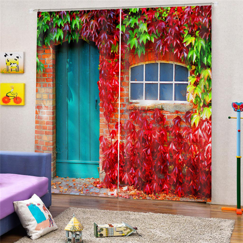 3D Paint Solid Leaves Blackout Curtain For Living room Home Decor Drape Curtains Bedroom high shading rate Rideaux JUN10