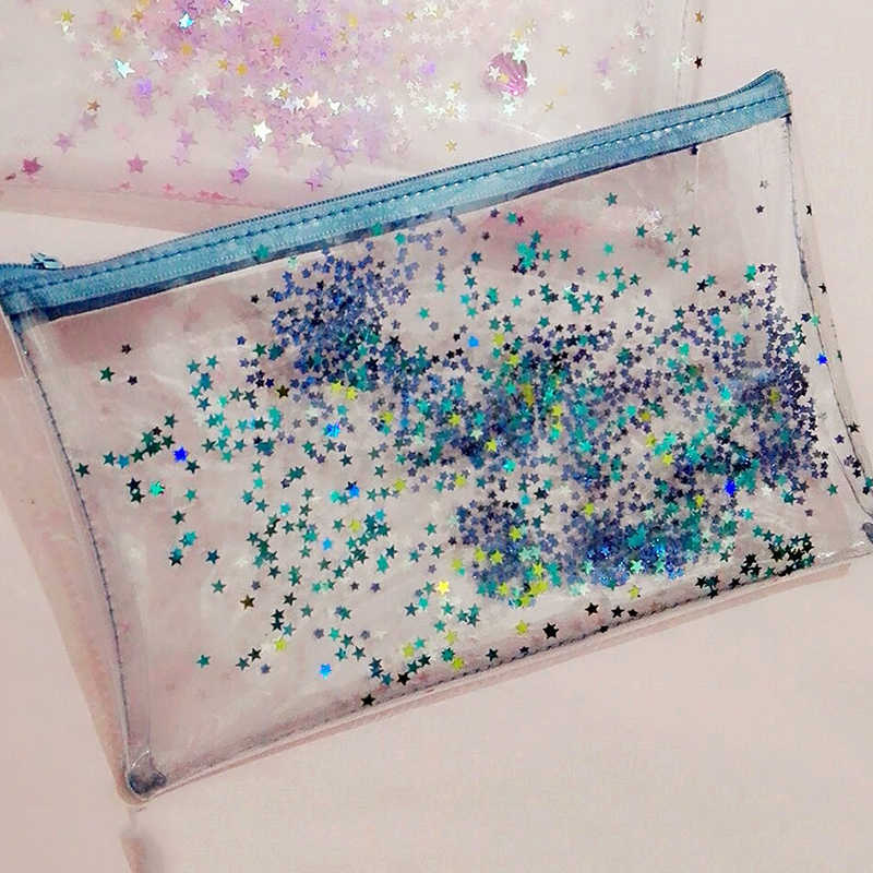 Creative Kawaii Transparent star Pencil Cases Multi-functional Stationery Pen Bag Storage Cosmetic bag for girls gift
