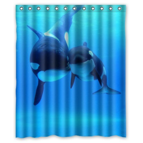 Fashionable Bathroom Collection Custom Waterproof Polyester Fabric Orca Killer Whales Shower Curtain With Hooks