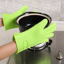 Barbecue Hot 1 Pair food Grade Heat Resistant Thick Silicone Kitchen Oven Glove Cooking BBQ Grill Glove Oven Baking Gloves