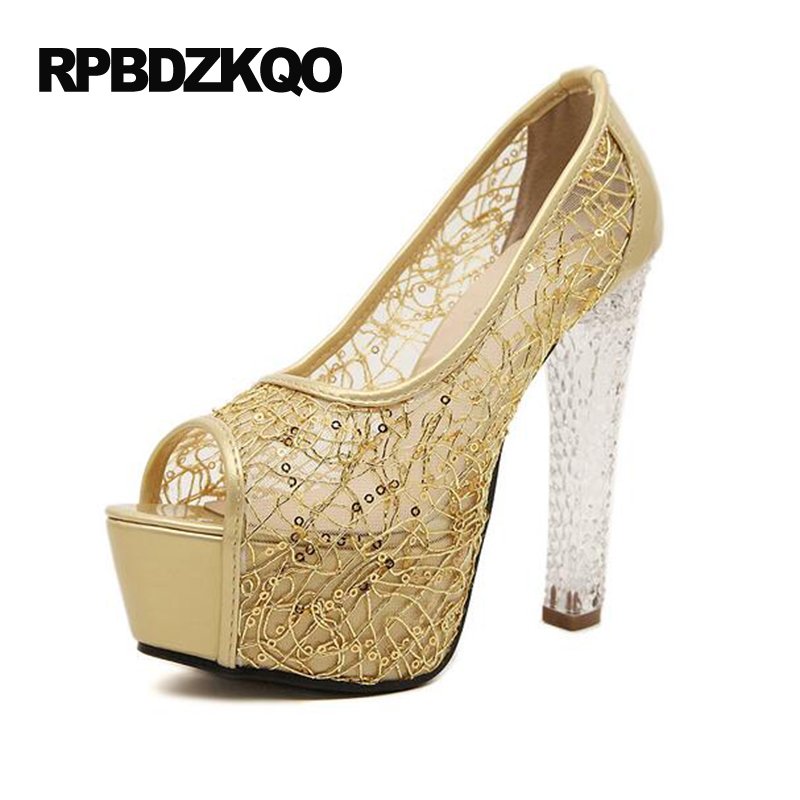 08846b11673fe High Heels Mesh Fish Mouth Shoes Extreme Transparent Platform 14cm 6 Inch  Gold Block Pumps Summer Women Pull On Sexy Casual Mesh