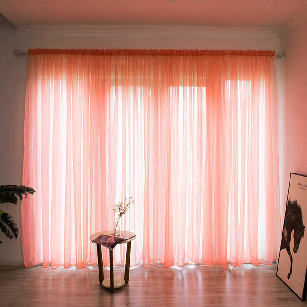 Solid Color Sheer Curtain Window String Curtains Drape Panel Sheer Tulle For Living Room Bedroom Modern Window Treatments