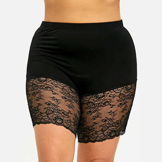 784262b2fb868 Kenancy Plus Size Sheer Lace Hem Women Short Pants Sexy Black Lace Trim See  Thru Elastic