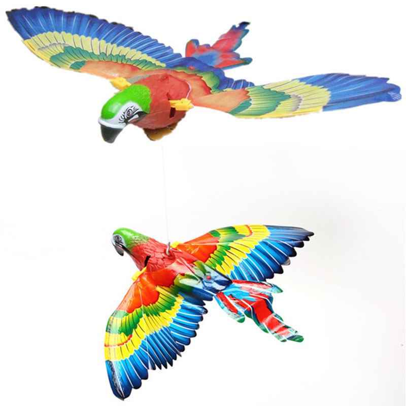 Funny Toys Big  Hanging Wire Electric Parrot With LED Light Music Eye Glowing Bird Toys Kids Educational Toys Gift