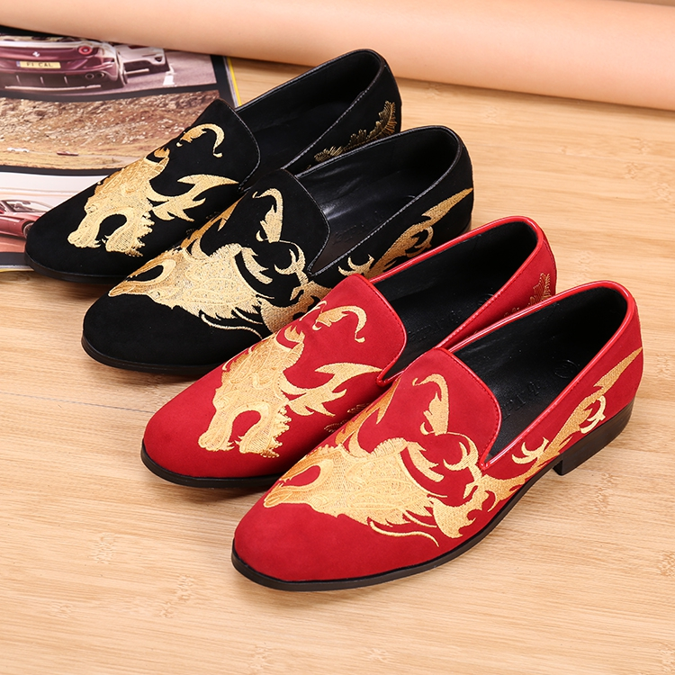 Red Black Flats Loafers Genuine leather Slip on Boats Groom Wedding Dress Shoes Dragon Embroidery Mens Casual Shoes Plus Size 46 pyjtrl tide men chinese style red gold dragon design casual suit jacket plus size singer costume wedding groom prom party blazer