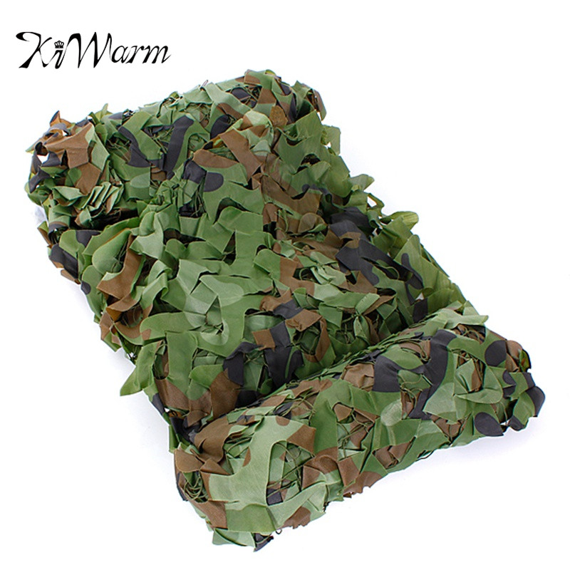 KiWarm 4x1.5m Outdoor Woodland Camo Net Military Camouflage Netting Mesh Games Hide Camouflage Net Hunting Camping Netting Cover