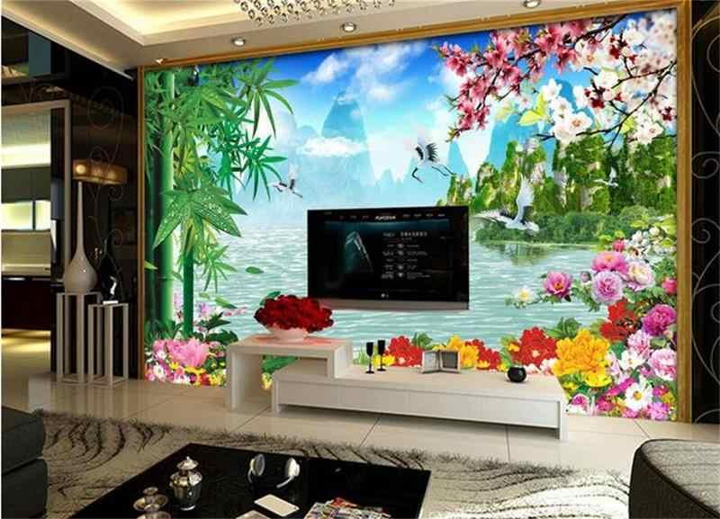 """3d комната фото обои на заказ Фреска нетканый стикер на стену бамбуковый Цветок персика картина """"Лебедь"""" ТВ фон стены 3d обои"""