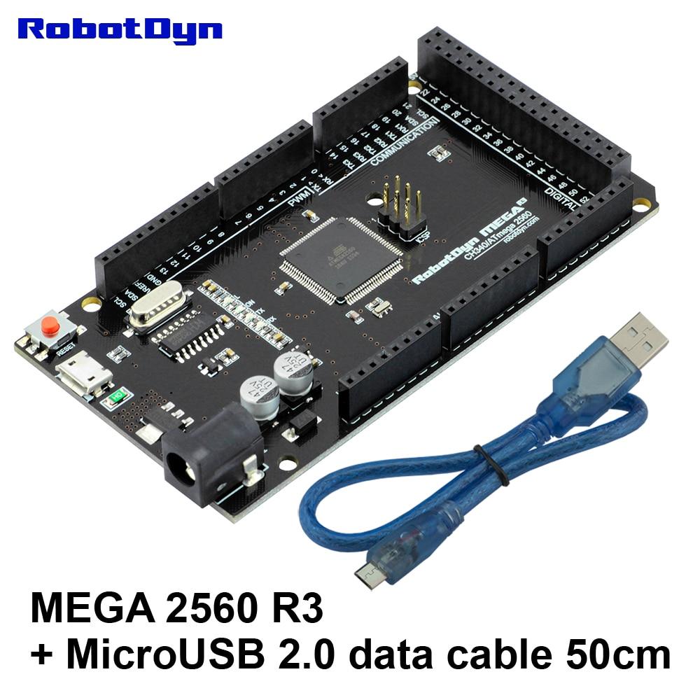 Mega2560 R3 CH340G/ATmega2560-16AU + USB 2.0 CÂBLE de données (50 cm). Compatible pour Arduino Mega 2560. MicroUSB. Bootloader.