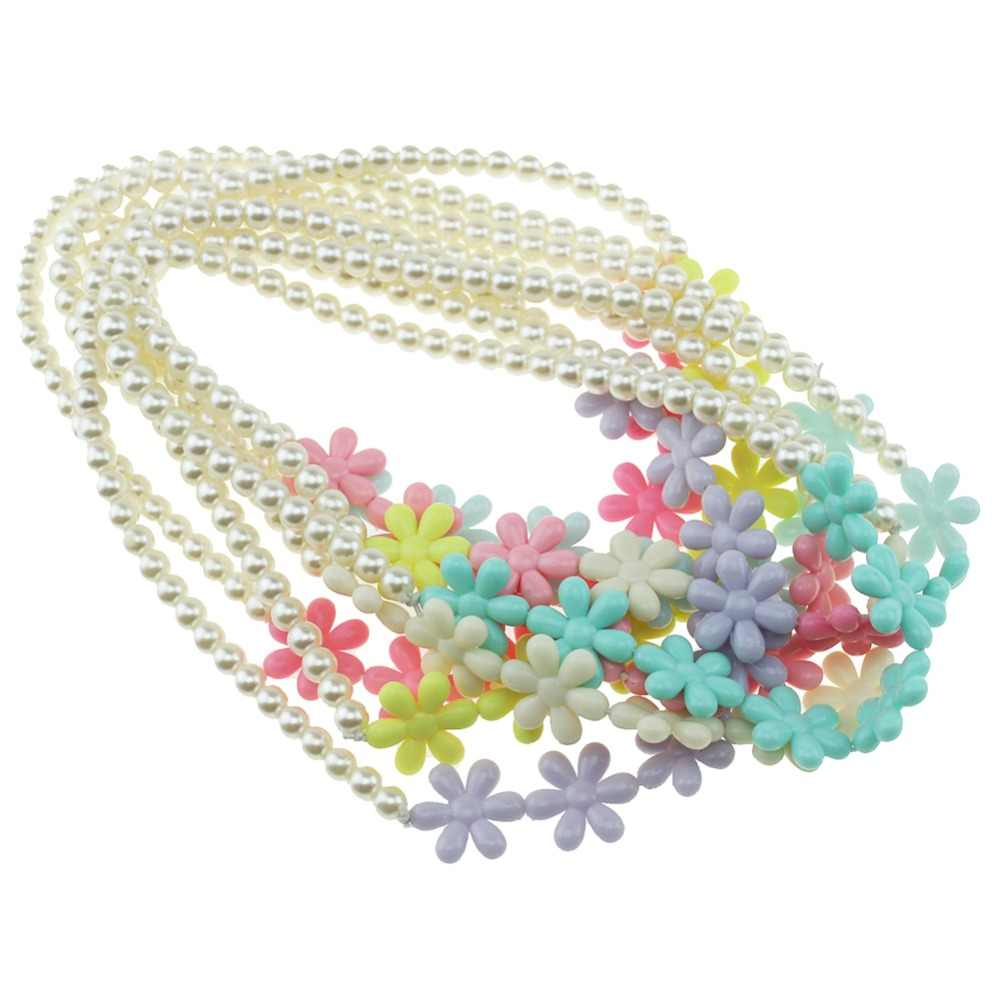 Pearl Necklace Candy Color Necklace Flower Beaded Necklace Children Cosplay Accessory Pink Girl Party Multicolor Jewelry