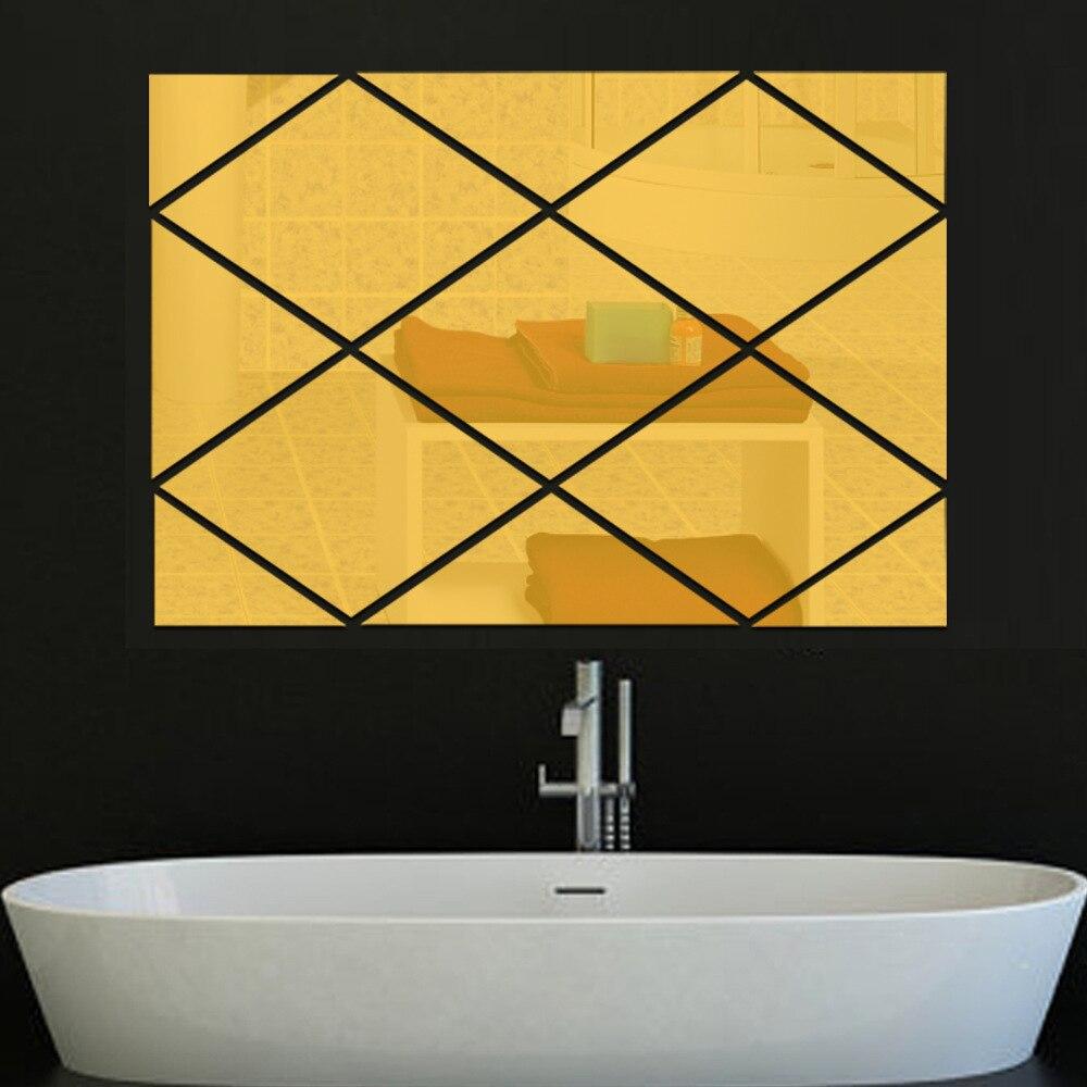 Creative geometric shape diamond shaped acrylic solid wall sticker TV background wall Living room self adhesive decoration