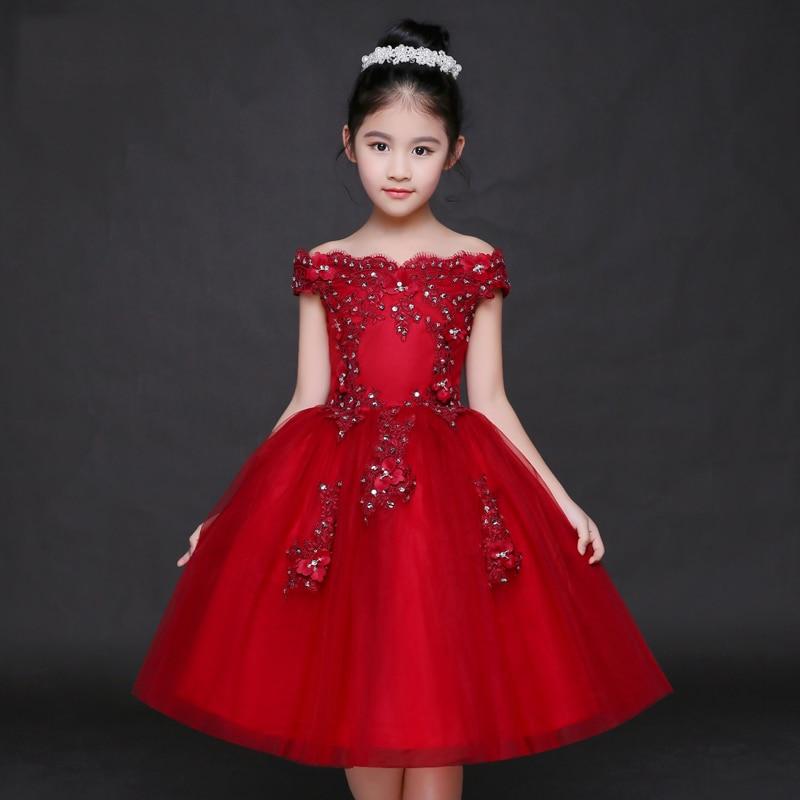Wine Red Shoulderless Flower Girl Dresses for Wedding ...