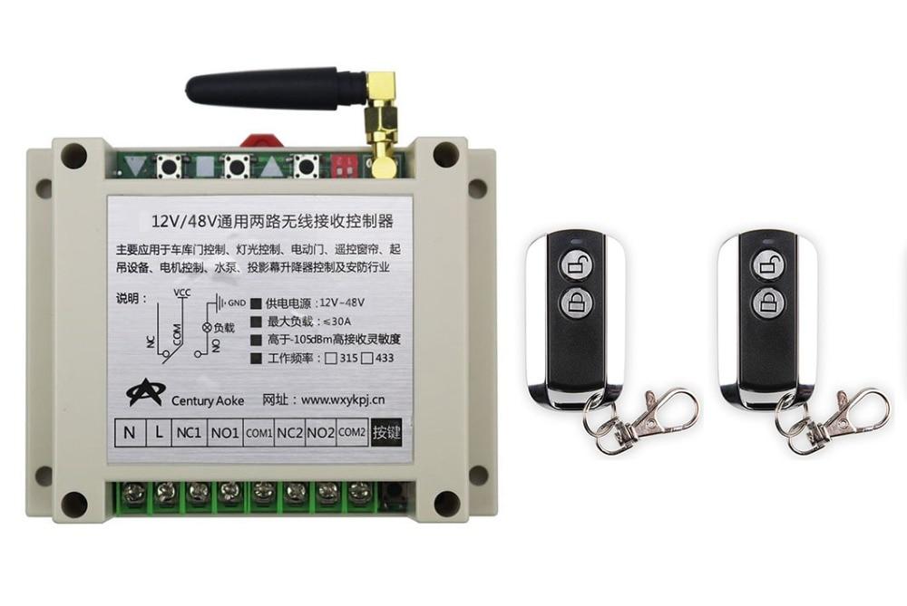 ФОТО latest DC12V 24V 36V 48V 10A 2CH Wireless Remote Control Switch System 1pcs Receiver & 2pcs 2 Keys metal waterproof Remote