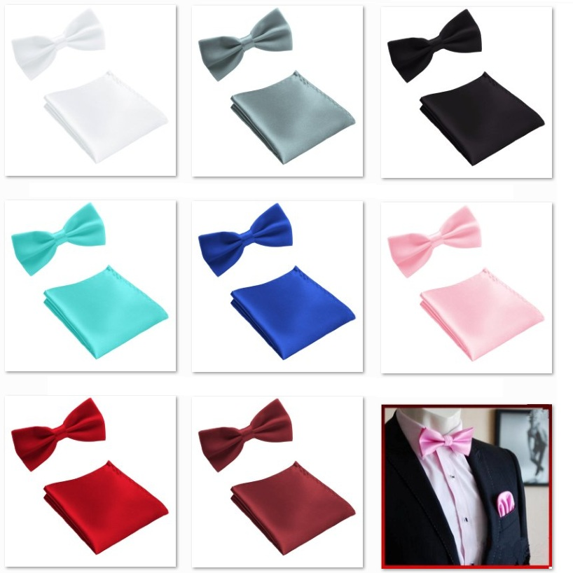 HOOYI 2019 Fashion Tie Set Bow Ties For Men Pocket Square Wedding Bowtie Handkerchief Butterfly Towel