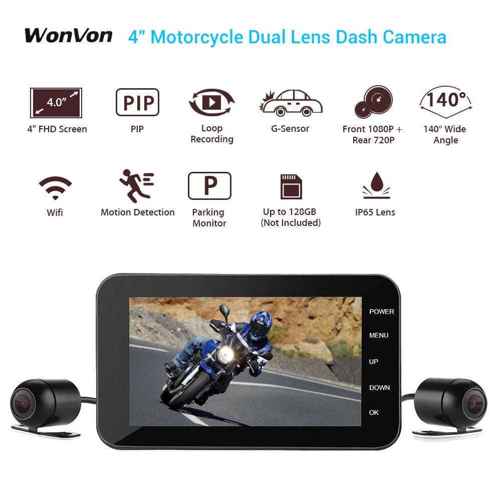WONVON 4 LCD WIFI Motorcycle font b Camera b font IP67 140 Degree Motorbike Dashcam Action