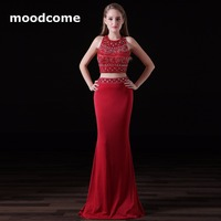 2018 Candy Color Prom Dresses Cheap Mermaid Two Piece Satin Beading Sequins Cheap Custom Made Plus Size Formal Evering Gowns