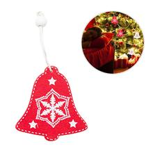 Nordic Style Christmas Ornament Tree Bell DIY Pendant Box Wooden Mini Five-pointed Stars Deer Shape Decoration