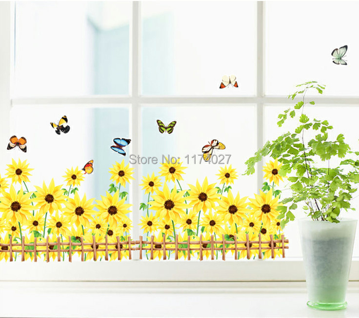 Sunflower butterfly wall stickers home decor art decals room decoration