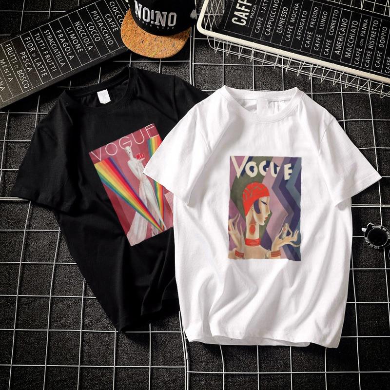 Harajuku Aesthetics Vintage Vogue Art Cotton Gothic Tshirt Women 2019 Femme Modis Plus Size T Shirt Print Short Sleeve Top Tees