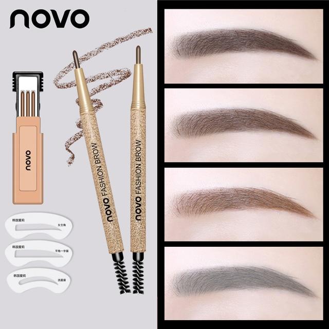 NOVO Fashion Brow Makeup Set Eyebrow Pen + 3pcs Refill + 3pcs Eyebrow Stencils Long Lasting Eye Brow Pencil 2