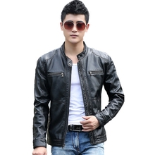 B Spring and Autumn Mens Leather Jacket Slim Short Jackets stand collar casual Male Motorcycle plus size S-5XL