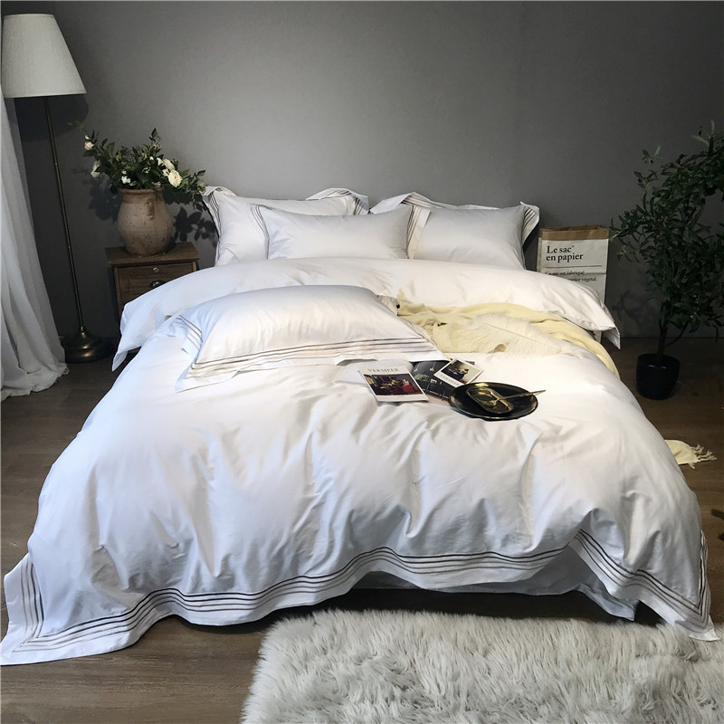800TC Egyptain Cotton Luxury Hotel Bedding Set White Gray Queen king Bed Set Duvet Cover Fitted